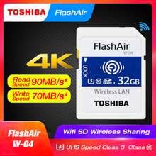 TOSHIBA FlashAir W-04 WiFi SD Card 64GB SDXC 32GB 16GB SDHC Class 10 U3 Memory Card Flash Card For Digital Camera цена