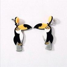 Cute Parrot Drop Earrings For Women Punk Hip Hop Animal Bird Trendy Ear Jewelry
