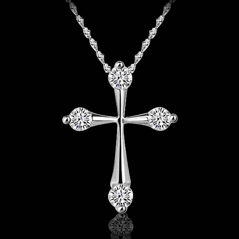 OMHXZJ 卸売人格ファッション OL 女性ガールズパーティーギフト白十字 AAA ジルコン 18KT ホワイトゴールドペンダントネックレス NC120