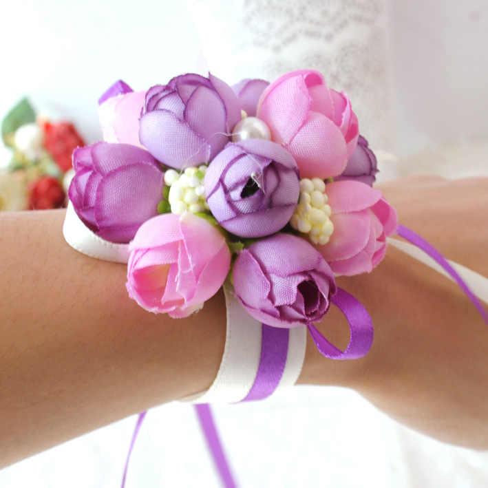 Роза запястья корсаж подружки невесты сестры ручной цветы Искусственные Свадебные цветы для свадебной вечеринки украшения для свадебного выпускного вечера Wh
