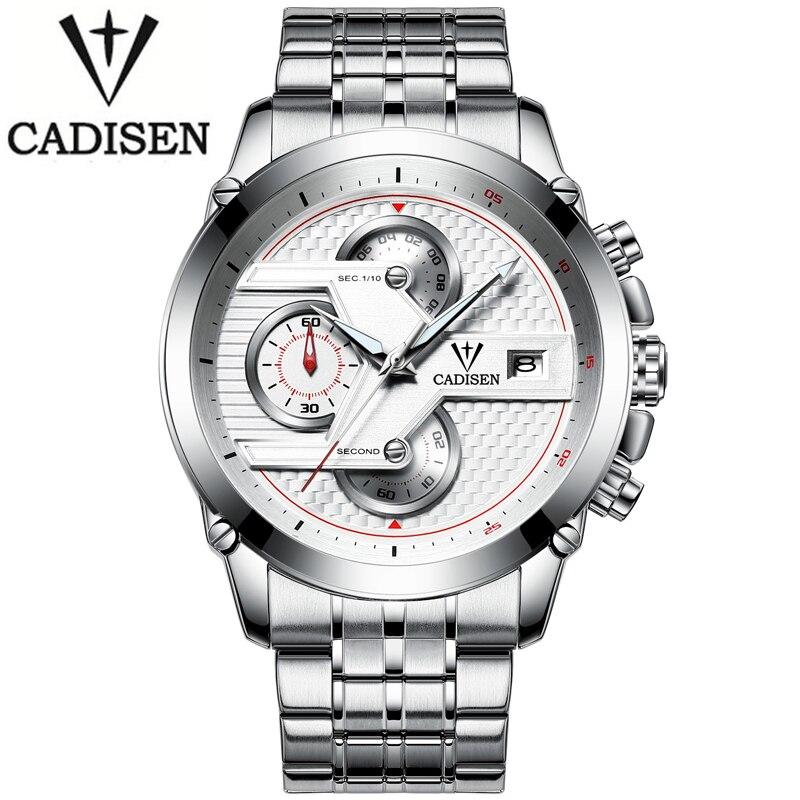 CADISEN Hommes D'affaires Quartz Montre De Luxe Marque Hommes Étanche Loisirs Sport Automatique Date Horloge Relogio Masculino Mode reloj