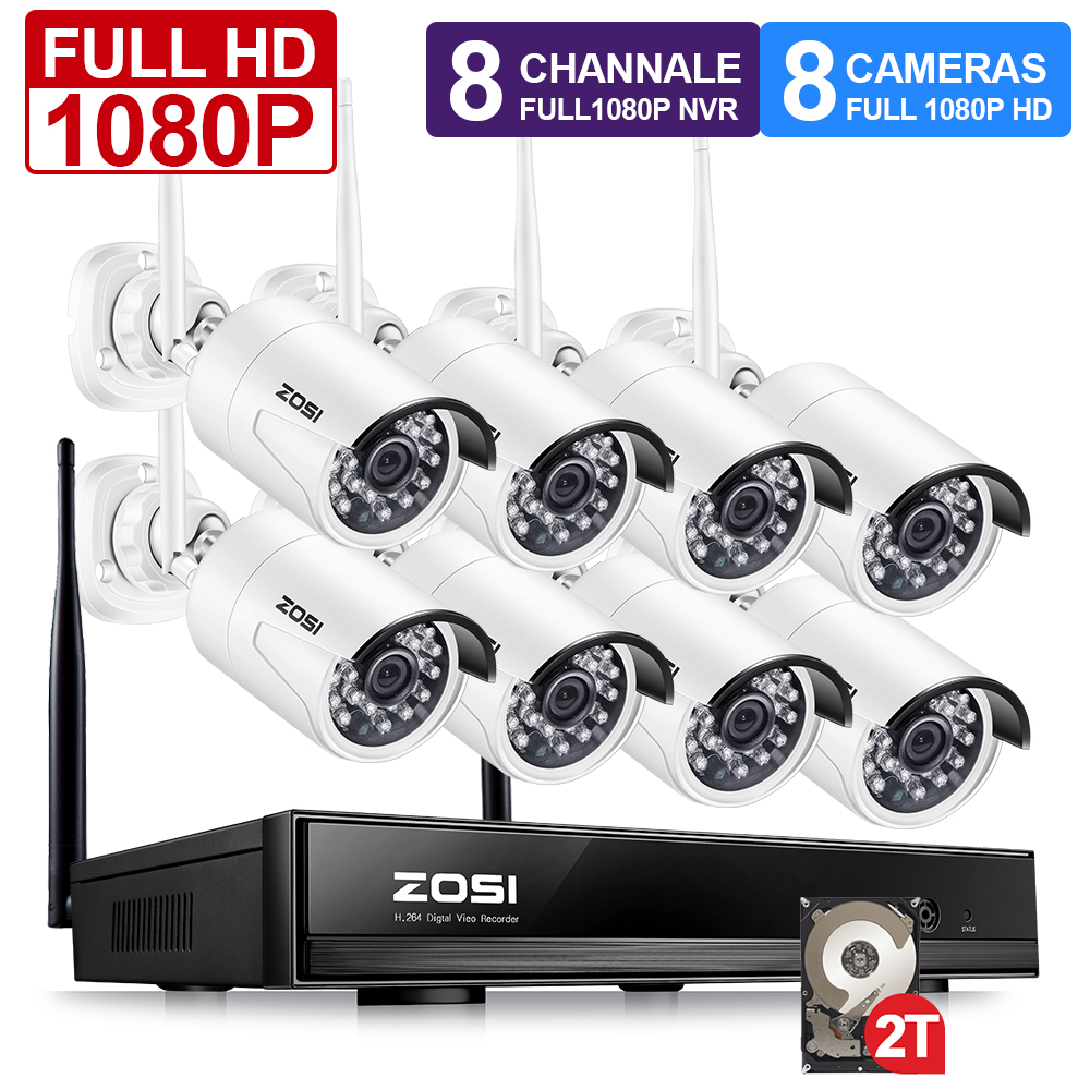 ZOSI 1080P Wireless Security Camera System 8 Channels WiFi NVR with 8 2.0MP WiFi IP Cameras Outdoor Video Surveillance