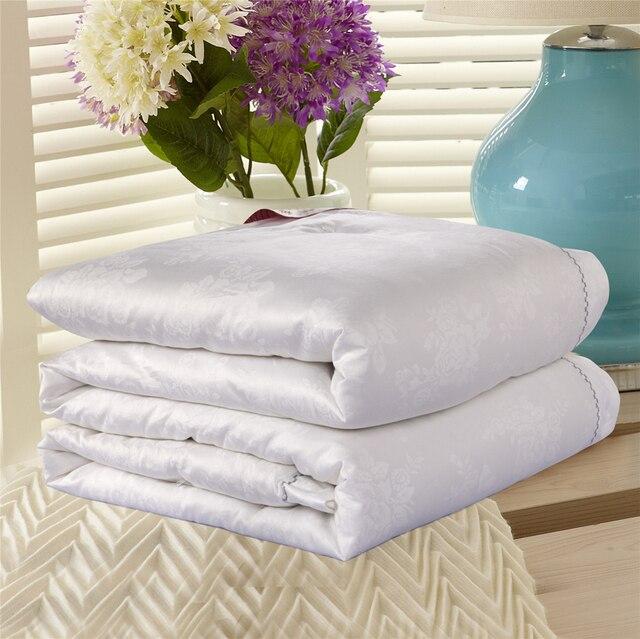 Роскошный 100% тутового/натурального шелка набор из стеганого одеяла и покрывала одно двойное/King розовое белое декоративное полотенце для зи...