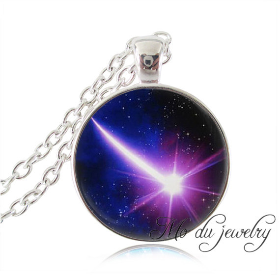 Purple shooting star necklace, glass dome science necklaces,star galaxy,space pendant,planet jewelry silver chain pendant