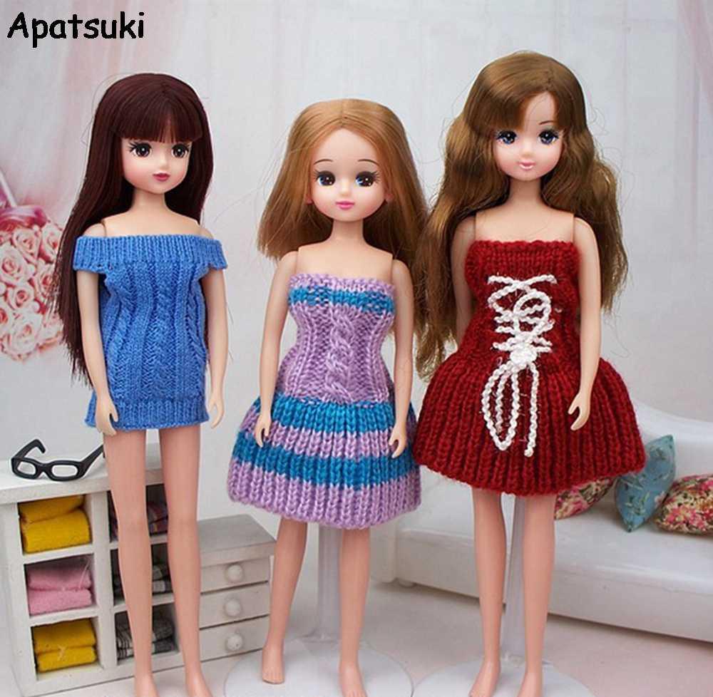 Trẻ em Đồ Chơi Búp Bê Phụ Kiện Dệt Kim Off-Vai Dresses Đối Với Barbie Nhà Búp Bê Đan Váy Vestidos Đối Với Blythe 1/6 BJD búp bê