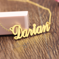 925 Silver Nameplate Jewelry for Women Custom Name Necklace Golden Personalized Letter Rolo Chain Necklace