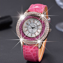 Wristwatch shining diamond graceful women leather watches strap active demand horologium luxury relogio feminino