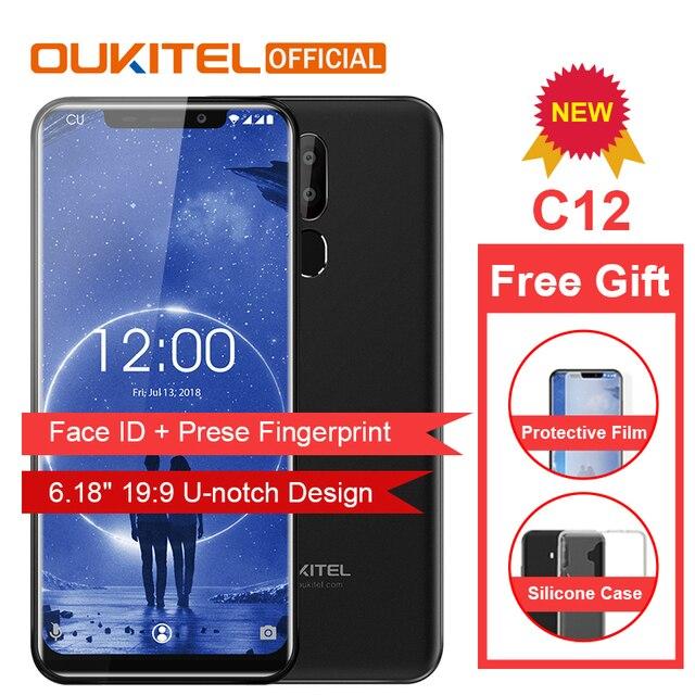 """OUKITEL C12 Face ID 6,18 """"19:9 смартфон сл сканером отпечатков пальцев Android 8,1 мобильный телефон MTK6580 4 ядра 2G Оперативная память 16G Встроенная память 3300 мАч разблокировки"""