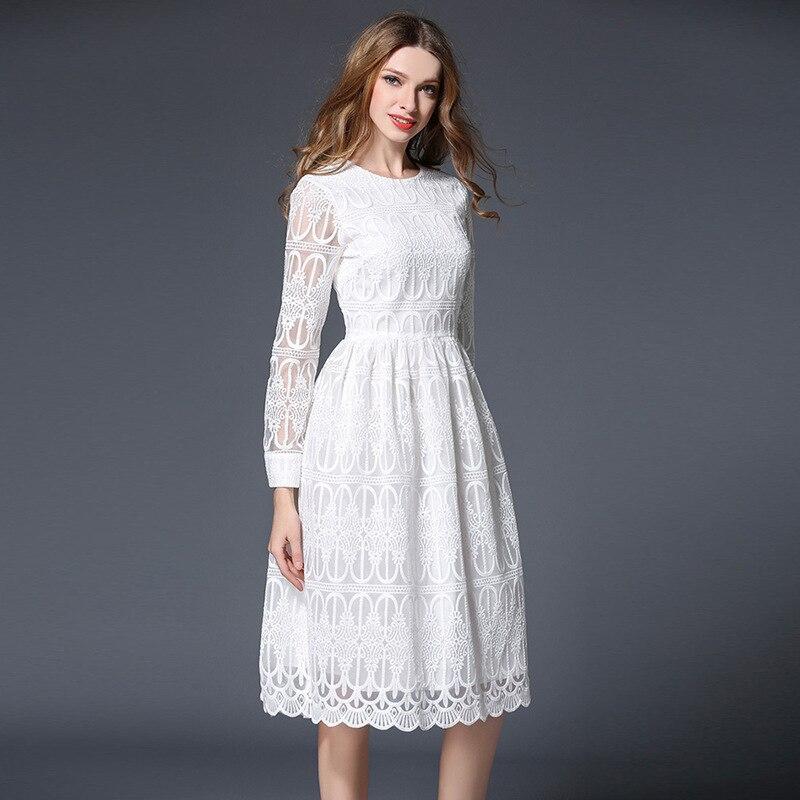 Popular Long Sleeve White Lace Dress-Buy Cheap Long Sleeve White ...