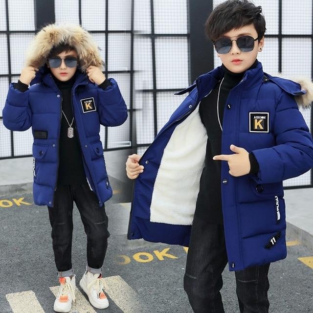 2019 odzież dziecięca chłopięca 12 14 dzieci Winte parka 15 puchowa kurtka bawełniana pogrubienie 10 odzież wierzchnia i płaszcze odzież 30 stopni