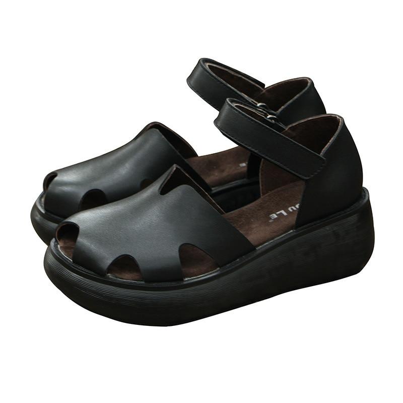 Ayakk.'ten Yüksek Topuklular'de Yeni deri retro yükseltme sandalet kadın yaz kalın alt takozlar muffin alt baotou deri Roma kadın ayakkabısı'da  Grup 1