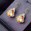 Derongems_Fine Jewelry_Luxury Natural Citrine Waterdrop Earrings_S925 Solid Silver Citrine Earrings_Manufacturer Directly Sales