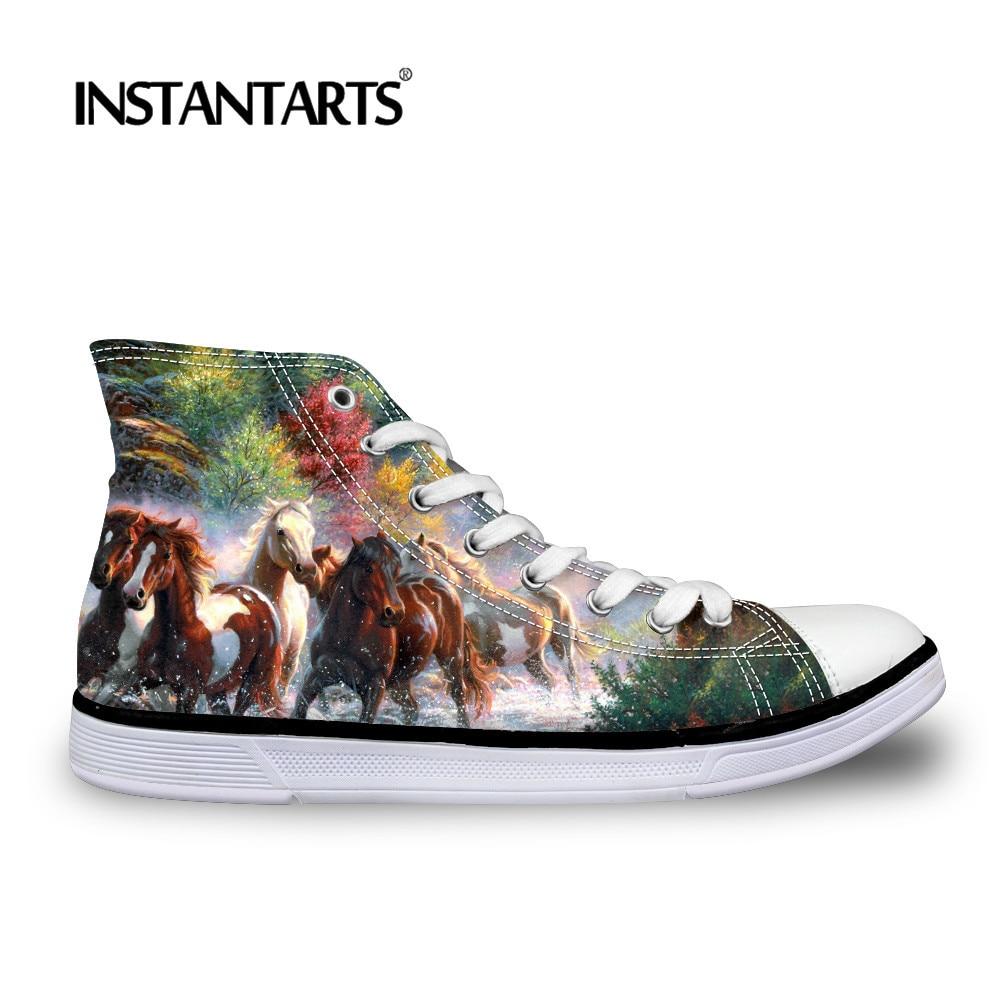 INSTANTARTS Hot Sale 3D Brand Design Crazy Horse Print Men's Vulcanize Shoes Man High Top Casual Canvas Shoes Classic Sneakers