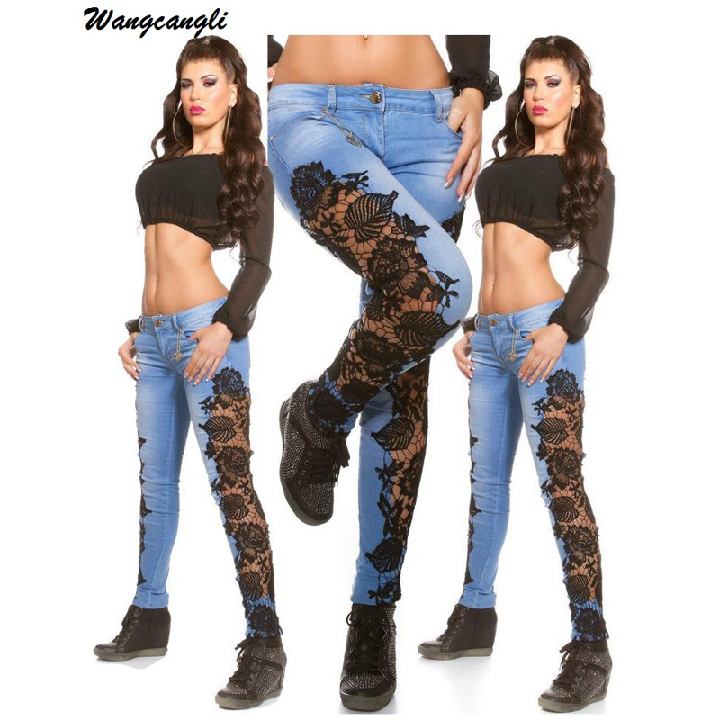 Wangcangli Fashion Jeans Women Lace Patchwork Skinny Hole Ripped Pencil Full Length Women Pant