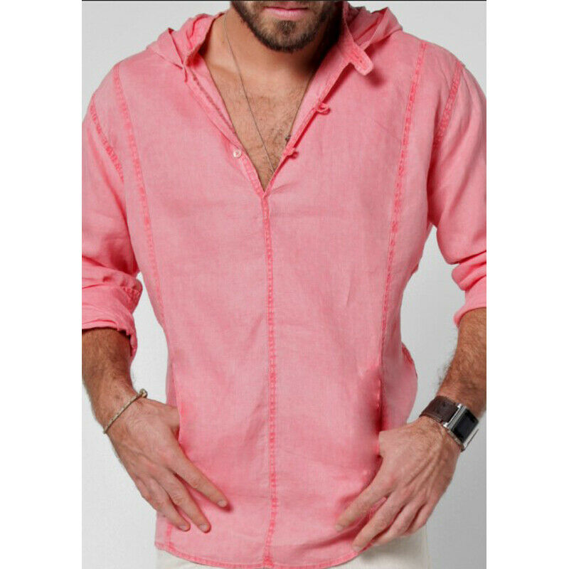 2019 Fashion Mens Linen Long Sleeve Button Hooded Shirt Summer Casual Street Daily Solid Color Tops Hoodie Four Color M-3XL