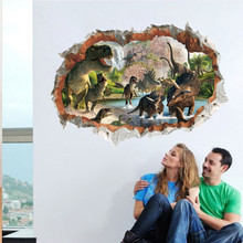 Cartoon Movie 3d Dinosaur Wall Stickers For Kids Rooms Childrens Decals Home Decoration Mural Poster