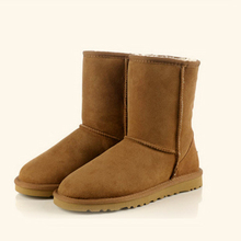 Top quality winter boots sheepskin real wool 100% leather big size mid-calf Australia classic brand sewing warm snow boots