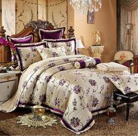 Вышитые Набор пододеяльников для пуховых одеял комплект Король, Королева Размер 4/6 шт. Роскошные жаккардовые Постельное бельё Атлас постел