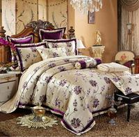 Embroidered Duvet Cover Set king queen size 4/6pcs Luxury Jacquard Bedding Sets Satin Bedclothes bed linen Cotton Home Textile