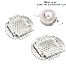 High Power LED Chip UV LED Emitter 385nm 3 W 5 W 10 W 20 W 30 W 50 W 100 W Ultraviolet Paars Epileds COB LED Licht Lamp(China)