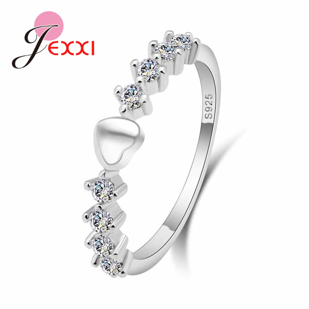 JEXXI New Lovely S90 Silver Silver Propose Rings For Girlfriend Clearly Crystal Heart Shape Finger Rings Wedding