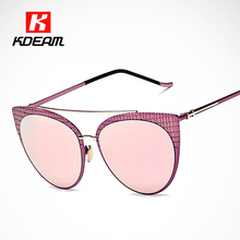 В форме ромба Печати Женская Cat Eye Солнцезащитные Очки Плоская Линза Дважды Мост Розовый Солнцезащитные Очки Для Вождения sonnenbrille KDEAM CE