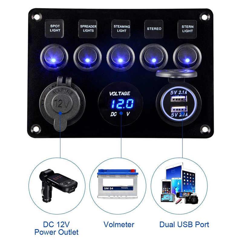 Mobil Kapal Laut 5-Gang 12 V USB On-Off Tahan Air Circuit Biru Lampu LED Rocker Switch Panel breaker