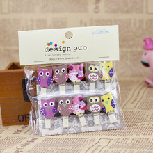 JZ011 50pcs Kawaii Owl Clip Wooden Photo Paper Craft DIY Clips with Hemp Rope FOD