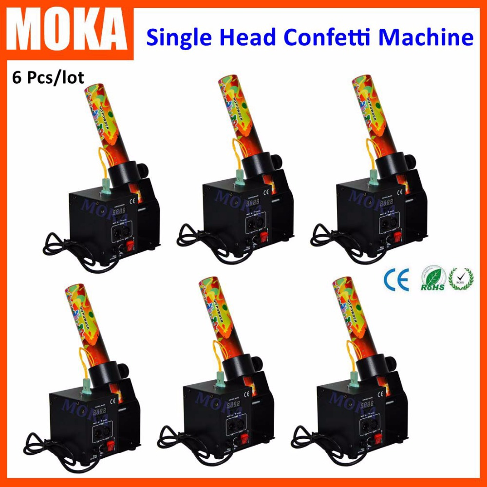 6 Pcs/lot Single Head Confetti Wedding Blaster Electrical DMX Control stage special effect cannon machine Party Confetti Shooter paper cannon confetti machine 4 head confetti shooter with special effects continuous flow confetti cannon