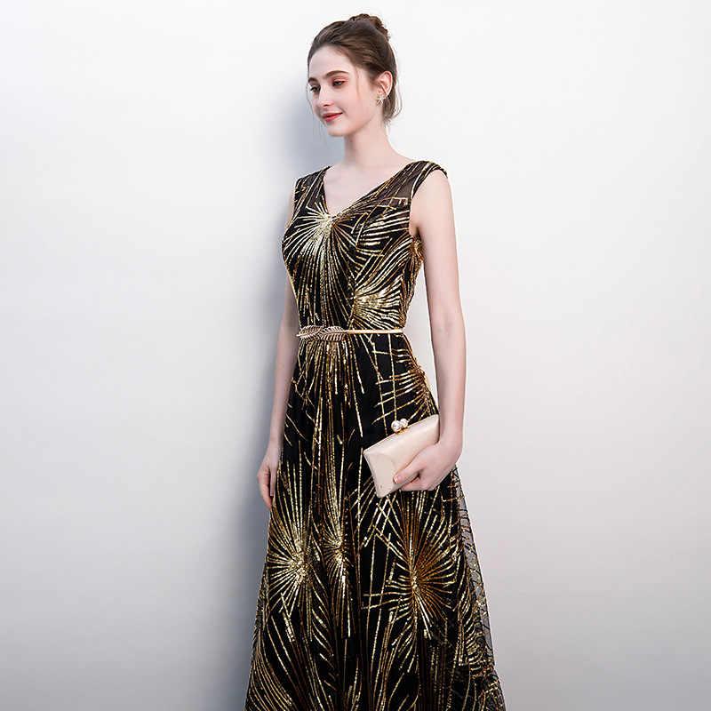 Elegante Con Scollo A V Vestito Da Sera Convenzionale Robe De Soiree Sequin di A-Line Da Partito di Promenade Lungo Vestito Dalla Madre 2019 Vestido De festa