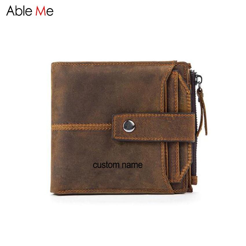цена Custom Name Gift wallet Short Design Men's Wallet High quality genuine leather purse Male zipper & Hasp card holders men purses онлайн в 2017 году