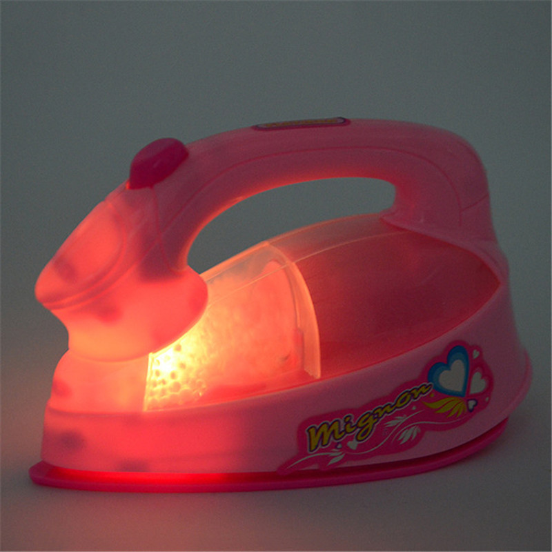 Image 2 - Girl Pretend Play Mini Electric Iron Plastic Pink Safrty Plastic Light up Simulation Kids Children Baby Girl Home Appliances Toy-in Furniture Toys from Toys & Hobbies