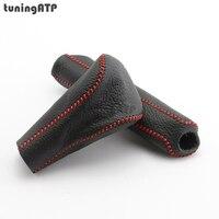 Genuine Leather Cover For HONDA Accord Mk8 AT Gear Shift Collar Knob Handbrake Grip Red Black