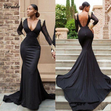 Black Mermaid African Prom Dresses Gold Lace Appliques Evening Party Formal Gown