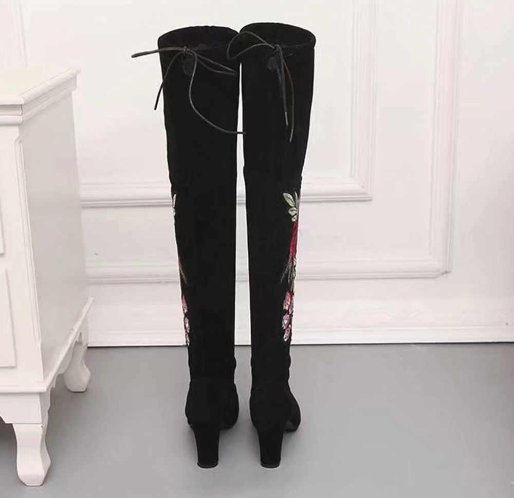 YOUYEDIAN/женские сапоги до бедра с вышивкой в виде роз; Сапоги выше колена; обувь из флока на высоком каблуке; ботильоны; para mulheres salto; # a35