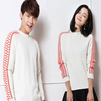 DoreenBow Couple Top Knitted Sweaters Autumn Winter Geometric Women Men Long Sleeve O Neck Outerwear Pullovers