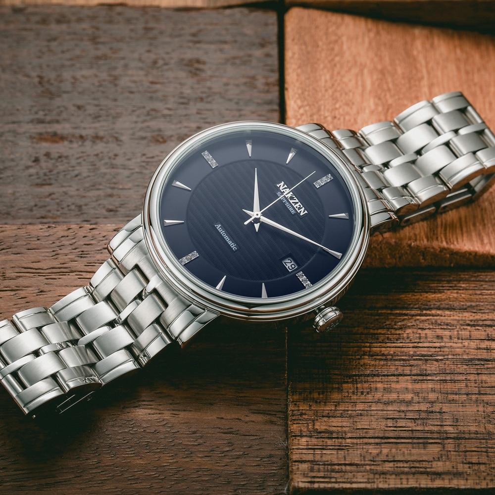 NAKZEN hombre reloj de pulsera de negocios marca de lujo diamante automático relojes mecánicos reloj Masculino Miyota 9015-in Relojes mecánicos from Relojes de pulsera    3