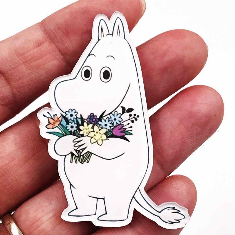 1 ADET Hippo Çiçek At Harajuku Kawaii Karikatür Hayvan Broş Pin Akrilik Anime Rozeti Packback Elbise Simgesi Broş Parti hediyeler