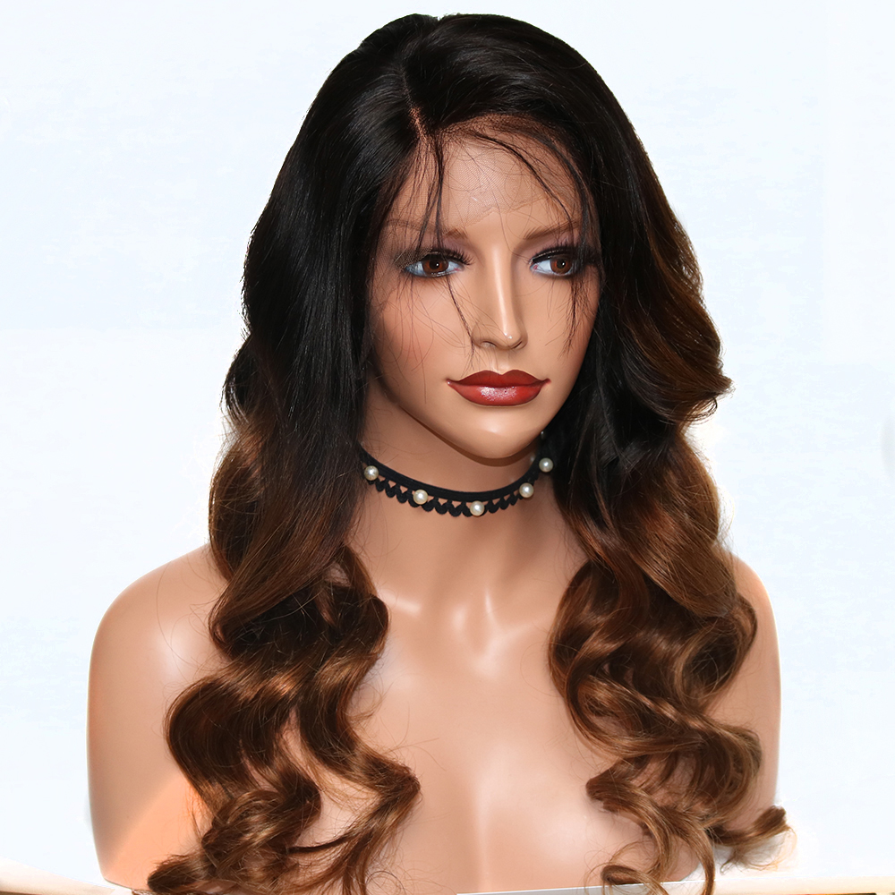 Eversilky Ombre Brown Wig Human Hair 1B 30 Body Wave Lace Front Human Hair Wigs With