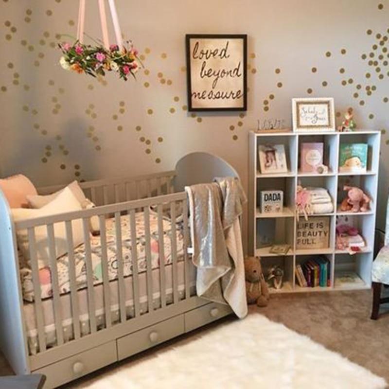 Gold Polka Dots Wall Sticker Baby Nursery Kids Room Cartoon Polka Dots Wall Decal Bedroom Living Room Vinyl Art Mural Decor Dots (2)