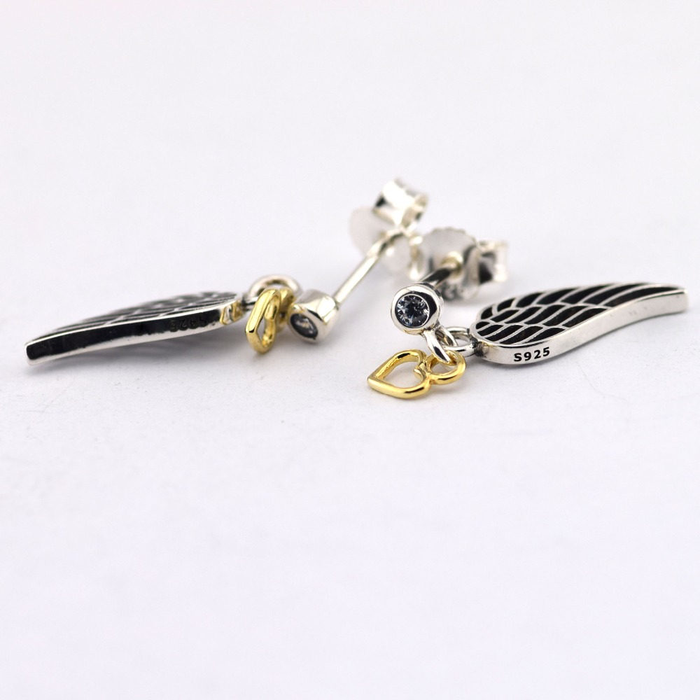 Genuine 925 Sterling Silver With Gold Plated Angel Wing Stud Earrings Compatible European Pandora Free Shipping Fle042 In From Jewelry