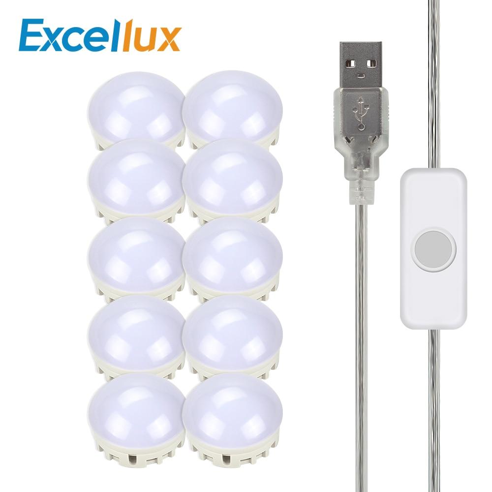 10leds USB Power Makeup Mirror Vanity LED Light Bulbs Kit Port DIY Adjustable Brightness Comestic Lamp With Switch For Dressing