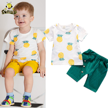 Kids Boys Summer Clothes Fashion Cotton Set Printed Fruit Sports Suit T-shirt + Shorts Childrens Clothing Baby Girl Outfits