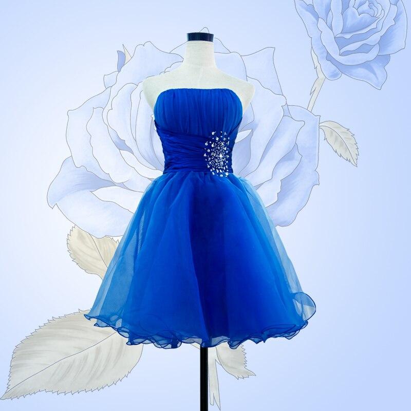 wuzhiyi vestido madrinha casamento longo Royal Blue bridesmaid dresses Knee-Length Beads Pleats Bridesmaid Dress Custom made New