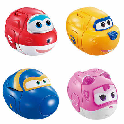 4pcs/lot Super wings Transformation Catapult Eggs Toys Mini Super Wing Planes Deformation Airplane Robot Action Figures kids Toy