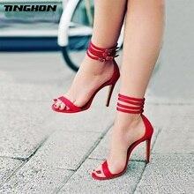 купить TINGHON New Gladiator Women Sandals Sexy High Heel Peep Toe Buckle Strap Pumps Summer Party Club Women Sandals Size 35-40 по цене 1369.42 рублей