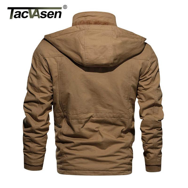 TACVASEN צבאי מעיל גברים חורף עבה כותנה מעיל מטען Parka מעיל תרמית צמר ברדס מעיל מזדמן מעיל רוח להאריך ימים יותר