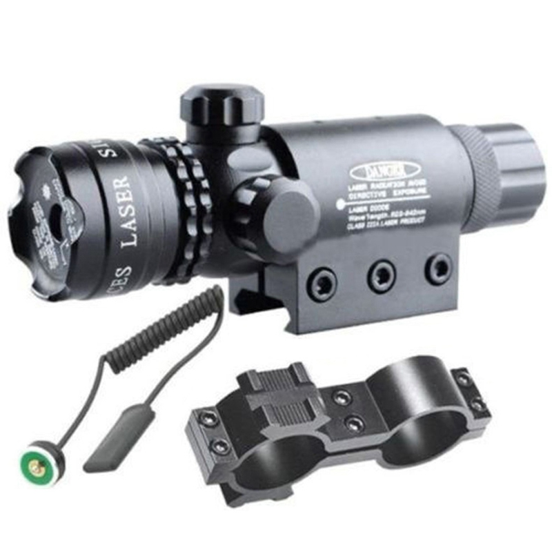 Tactical 5mw Red Laser Sight Rifle Scope Riflescope Designator 20mm Mount Tail Switch For Hunting