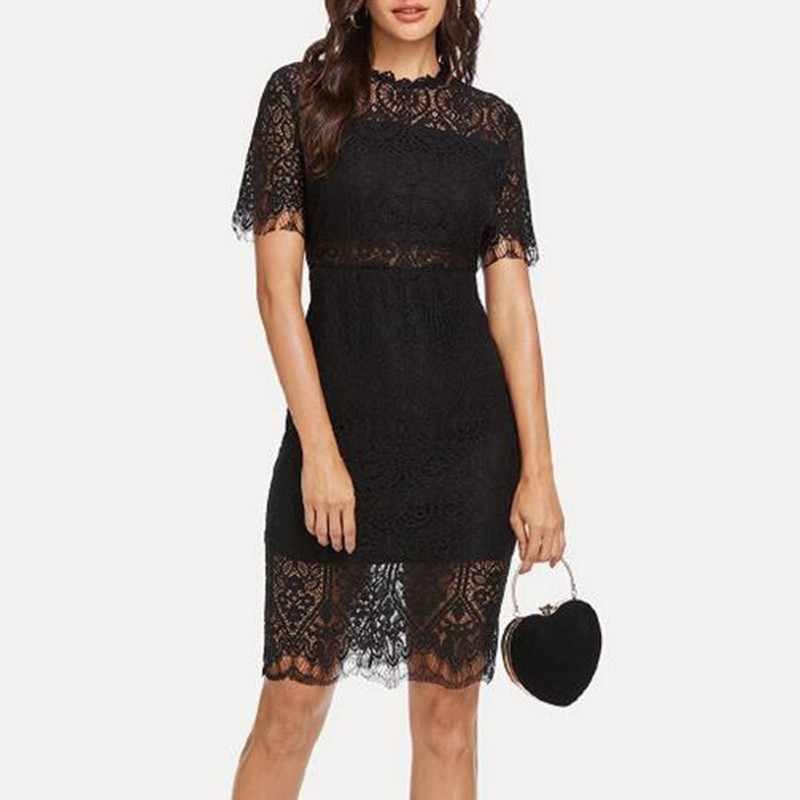 TWOTWINSTYLE, сексуальные кружевные платья для женщин, короткий рукав, высокая талия, выдалбливают, бодикон, вечерние платья для женщин, 2019, летняя мода
