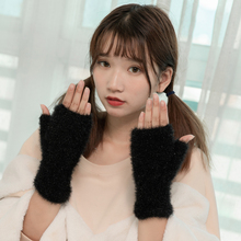 Warm Fingerless Gloves Winter Women Mitten Half Finger Covered costume Fur